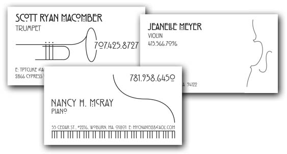 Musicians Biz Card Samples - Pic