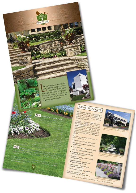 Large Brochure sample for Ironwood Landcrafters