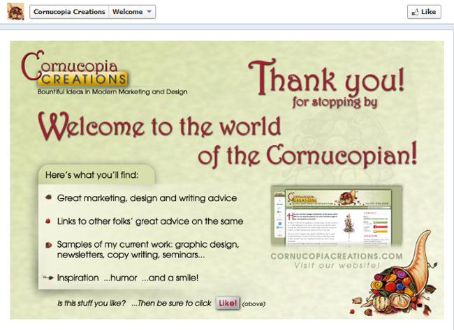 Cornoucopia Creations' Facebook Timeline Welcome Pg