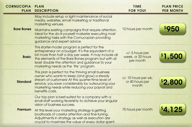 Marketing Services Plan Pricing