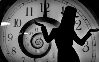 Spiral Clock with Silhouette wearing bowler hat