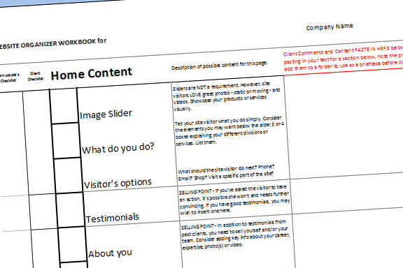 Screenshot of Cornucopia Creations' Client Website Workbook sheet